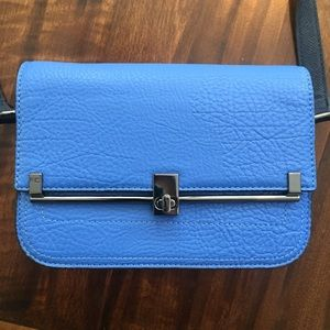 Bright Blue Faux Leather Structured Crossbody